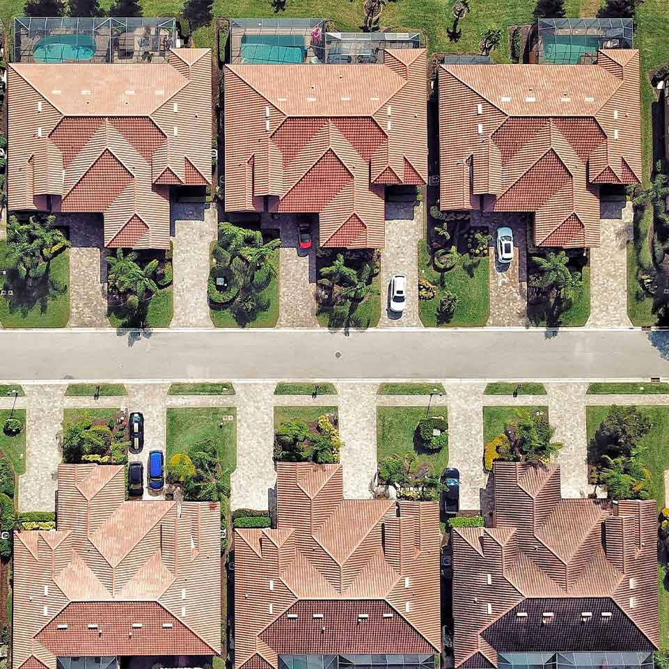 Aerial of Roofs | United Roofing & Contracting, LLC - Florida Roof Installations and Repairs